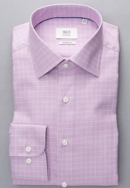 ETERNA LONG SLEEVE SHIRT MODERN FIT TWILL PINK / WHITE CHECKED