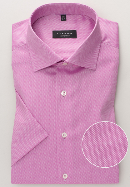 ETERNA HALF SLEEVE SHIRT COMFORT FIT NATTÉ-STRETCH VIOLET STRUCTURED