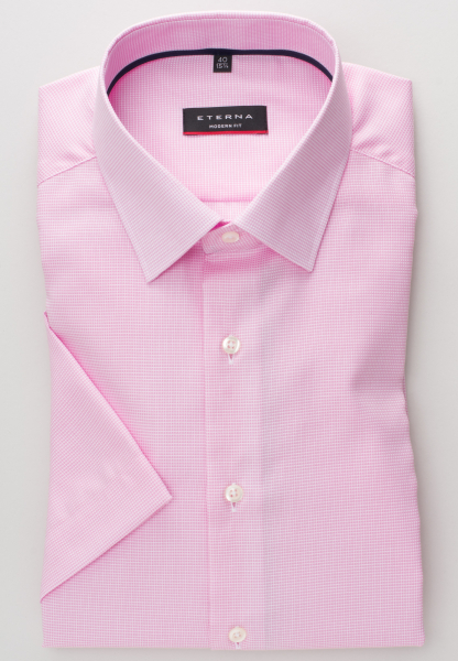 ETERNA HALF SLEEVE SHIRT MODERN FIT STRETCH PINK / WHITE STRUCTURED