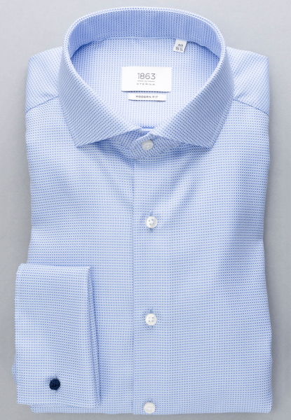 ETERNA LONG SLEEVE SHIRT MODERN FIT FANCY WEAVE BLUE STRUCTURED