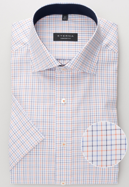 ETERNA HALF SLEEVE SHIRT COMFORT FIT OXFORD NAVY / ORANGE CHECKED