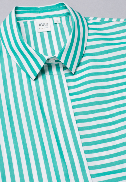 WITHOUT SLEEVES BLOUSE 1863 BY ETERNA - PREMIUM POPLIN MINT / WHITE STRIPED
