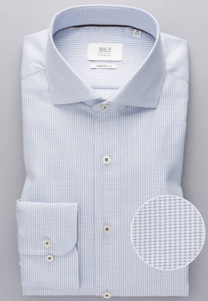 ETERNA LONG SLEEVE SHIRT MODERN FIT TWILL LIGHT BLUE / WHITE STRUCTURED