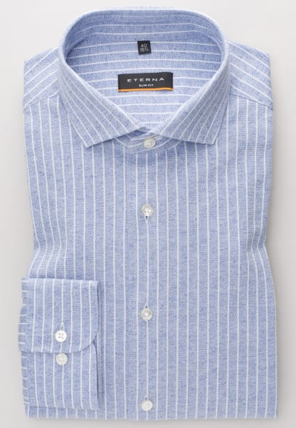 ETERNA LONG SLEEVE SHIRT SLIM FIT JERSEY LIGHT BLUE / WHITE STRIPED