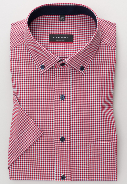 ETERNA HALF SLEEVE SHIRT MODERN FIT POPLIN RED/WHITE CHECKED
