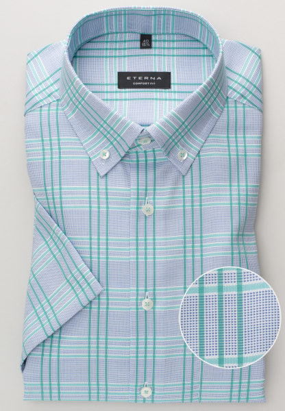 ETERNA HALF SLEEVE SHIRT COMFORT FIT OXFORD GREEN CHECKED