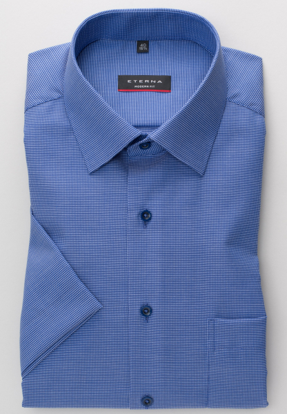 ETERNA HALF SLEEVE SHIRT MODERN FIT NATTÉ BLUE STRUCTURED