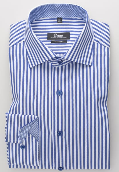 ETERNA LONG SLEEVE SHIRT MODERN FIT FANCY WEAVE BLUE STRIPED