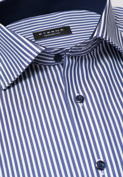 ETERNA LONG SLEEVE SHIRT COMFORT FIT TWILL NAVY STRIPED