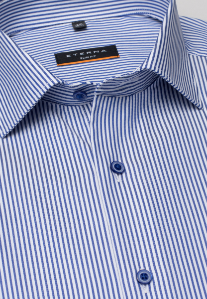 ETERNA LONG SLEEVE SHIRT SLIM FIT TWILL BLUE/WHITE STRIPED