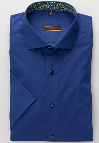 ETERNA HALF SLEEVE SHIRT SLIM FIT STRETCH NAVY BLUE UNI