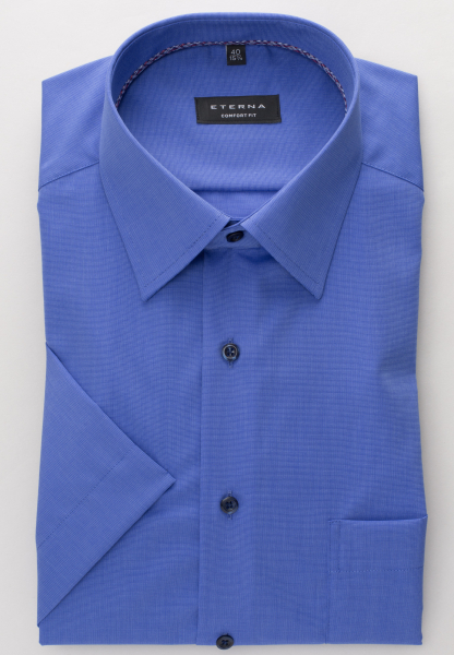 ETERNA HALF SLEEVE SHIRT COMFORT FIT FIL À FIL BLUE UNI