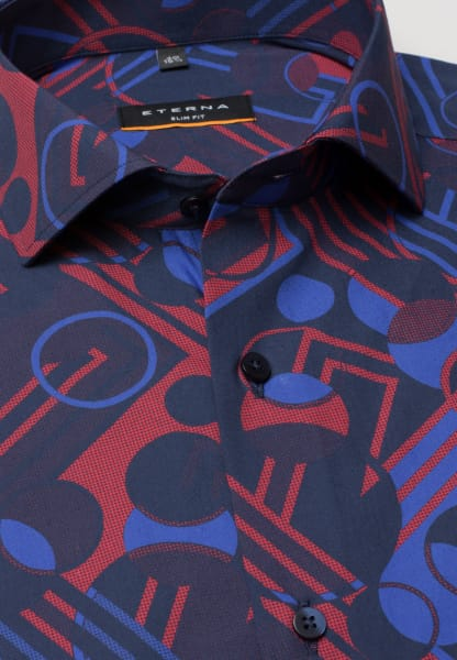 ETERNA HALF SLEEVE SHIRT SLIM FIT POPLIN BLUE / RED PRINTED