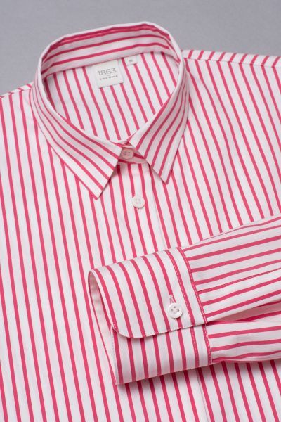 LONG SLEEVE BLOUSE 1863 BY ETERNA - PREMIUM POPLIN RED/WHITE STRIPED