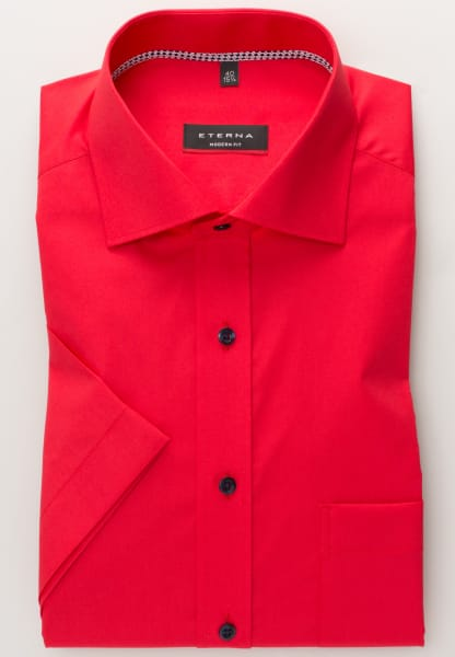 ETERNA HALF SLEEVE SHIRT MODERN FIT STRETCH INTENSE RED UNI