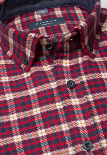 ETERNA LONG SLEEVE SHIRT MODERN FIT FLANEL RED / BEIGE CHECKED