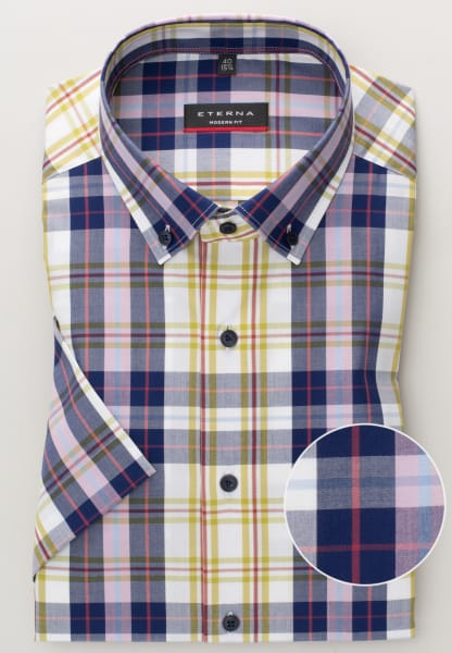 ETERNA HALF SLEEVE SHIRT MODERN FIT POPLIN BLUE CHECKED