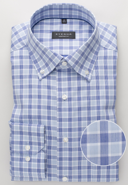 ETERNA LONG SLEEVE SHIRT COMFORT FIT TWILL BLUE CHECKED