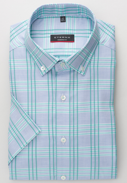 ETERNA HALF SLEEVE SHIRT MODERN FIT OXFORD GREEN CHECKED