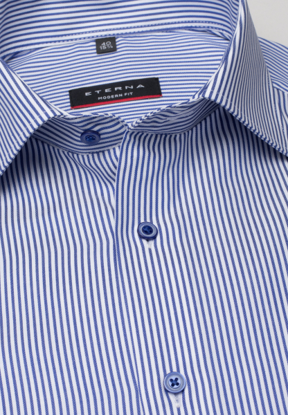 ETERNA LONG SLEEVE SHIRT MODERN FIT TWILL BLUE/WHITE STRIPED