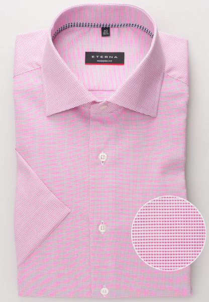 ETERNA HALF SLEEVE SHIRT MODERN FIT NATTÉ PINK / WHITE STRUCTURED