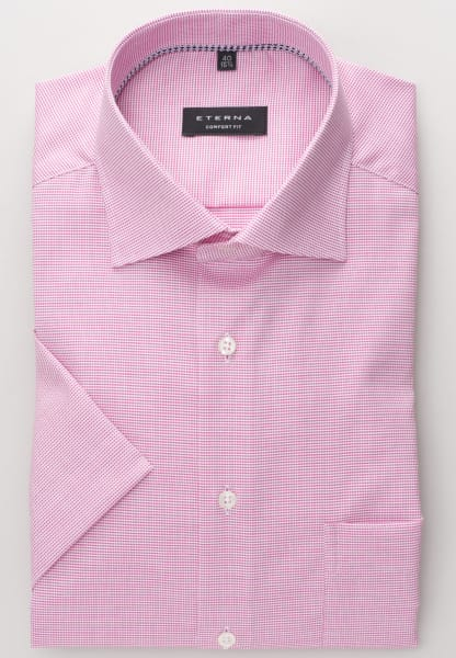 ETERNA HALF SLEEVE SHIRT COMFORT FIT NATTÉ PINK / WHITE STRUCTURED