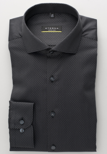 ETERNA LONG SLEEVE SHIRT SUPER-SLIM KETTLANCÈ BLACK STRUCTURED