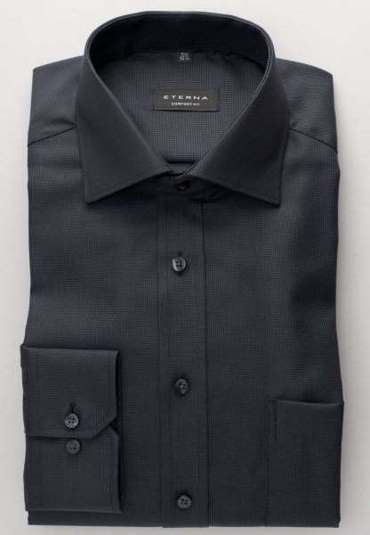 ETERNA LONG SLEEVE SHIRT COMFORT FIT TWILL ANTHRACITE STRUCTURED